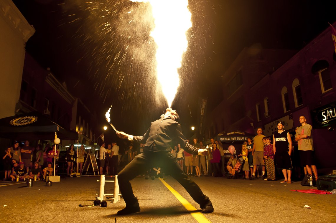 Fire Breathing in Bracebridge Ontario's Midnight Madness