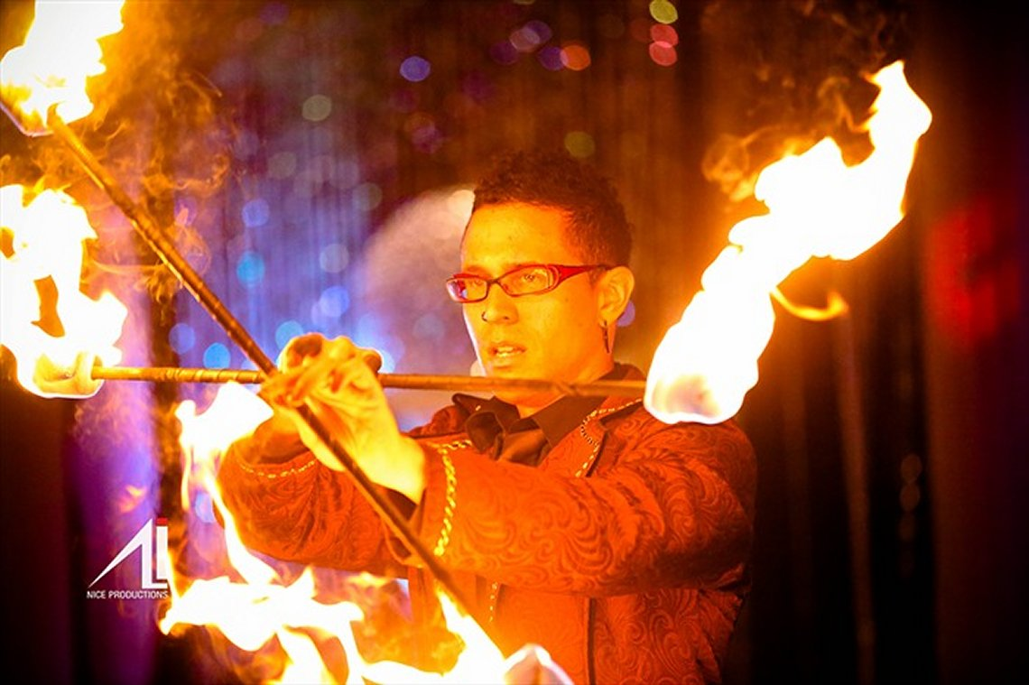 Fire Double Staff at Private Event