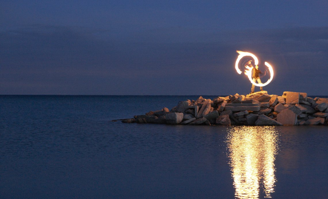 Terrence Drake Spinning Fire on the Beach